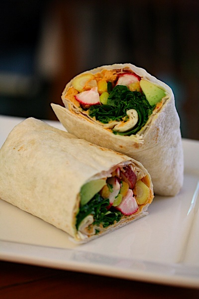 crunchy spicy hummus wrap